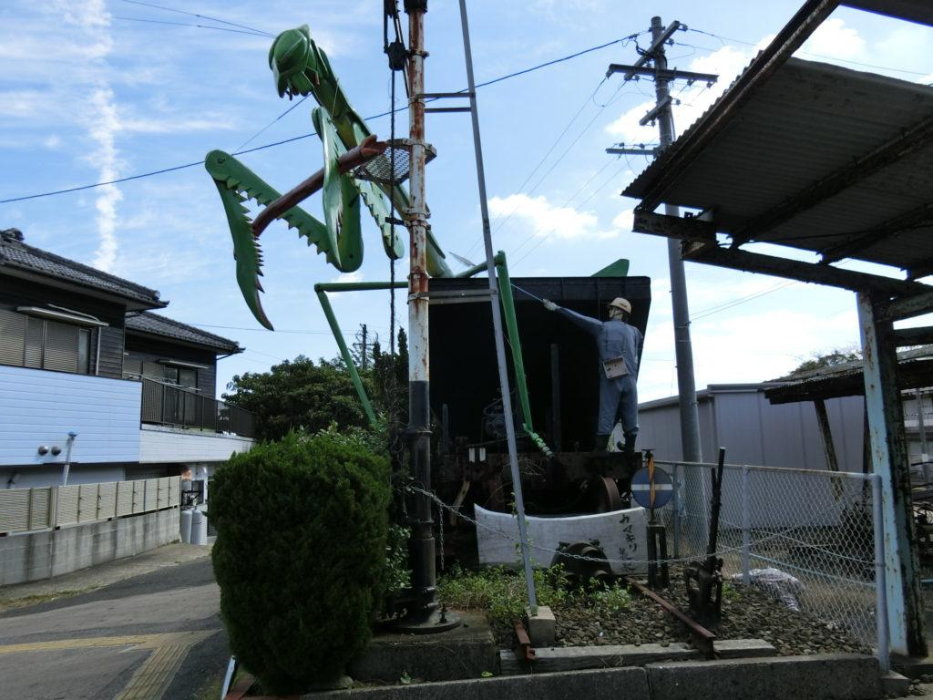 日本最西端の駅 たびら平戸口駅前カマキリ