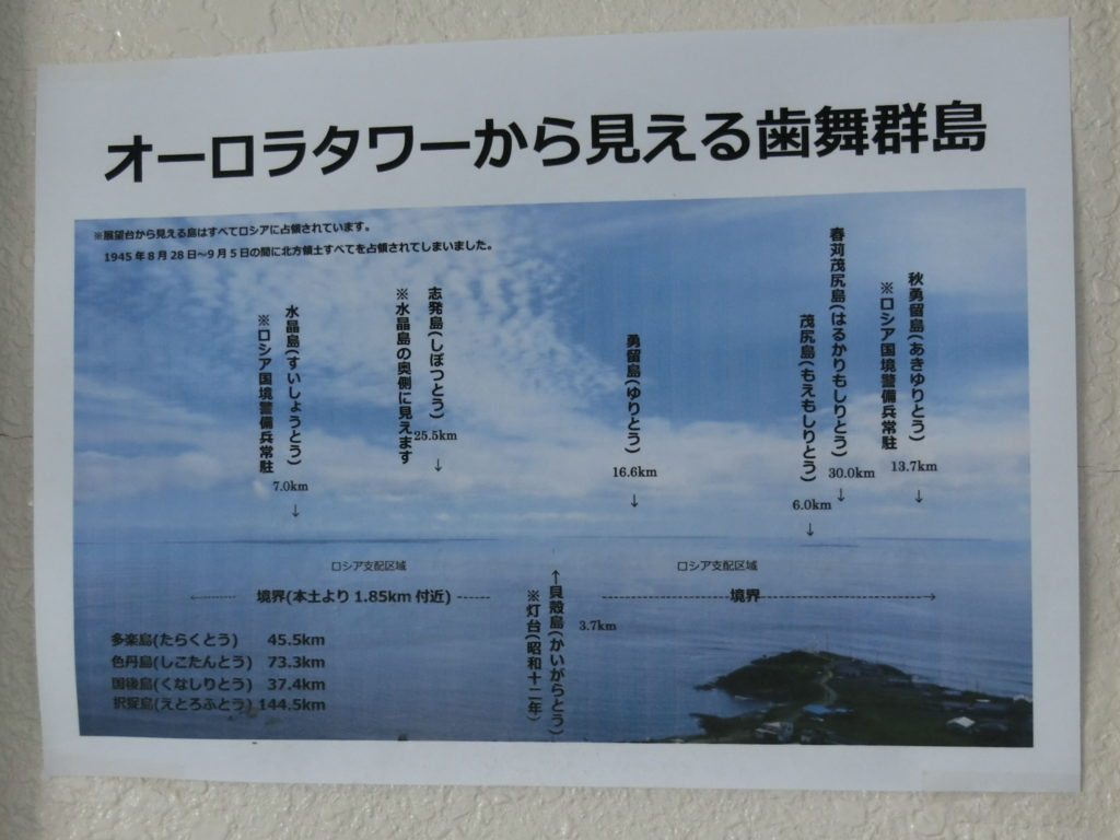 納沙布岬オーロラタワーから見える歯舞群島