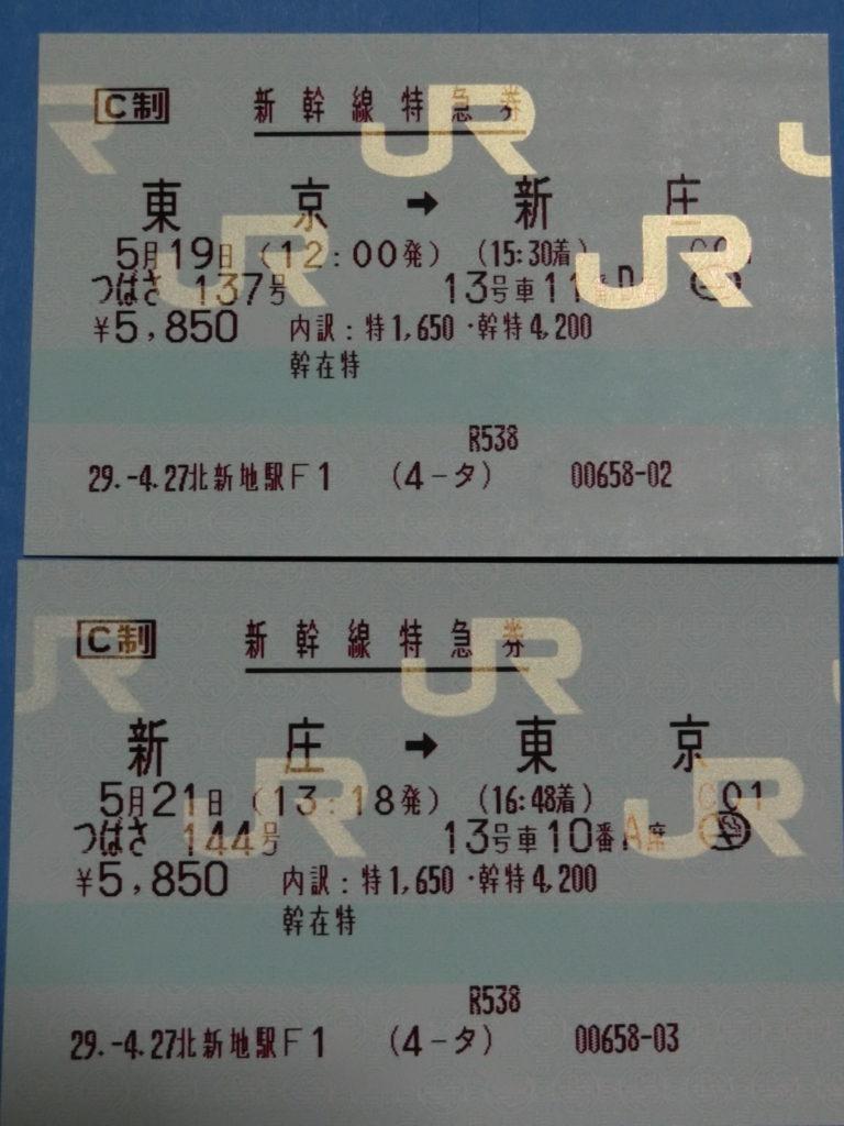 山形新幹線つばさ特急券