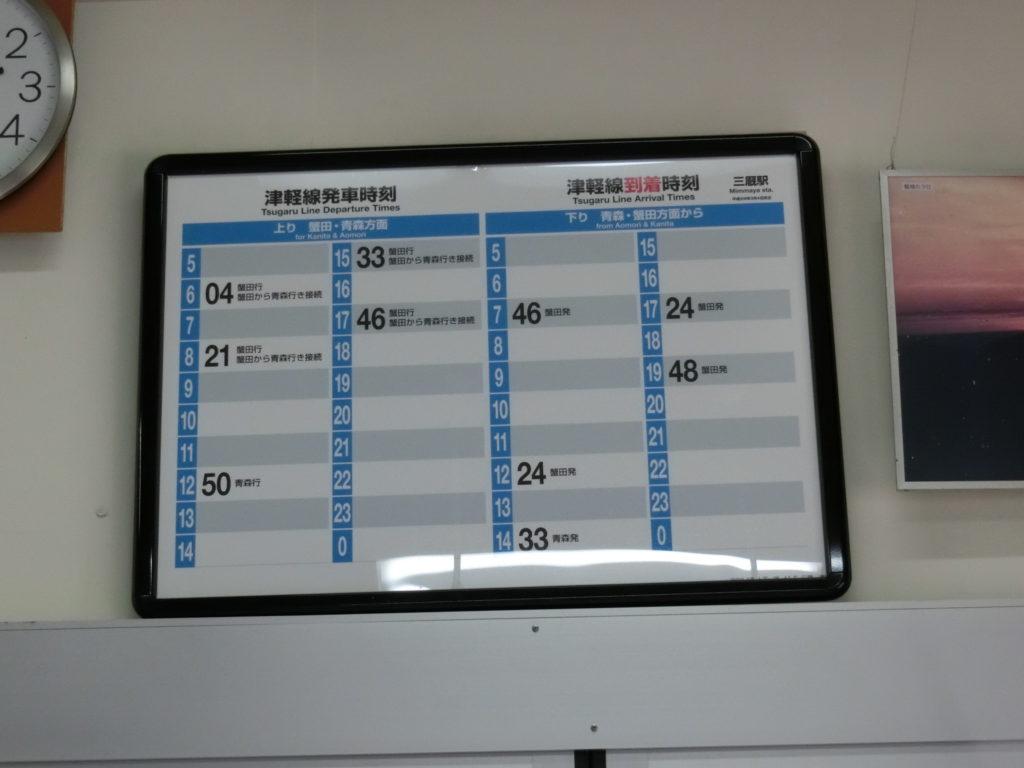 三厩駅の時刻表、最終は17:46