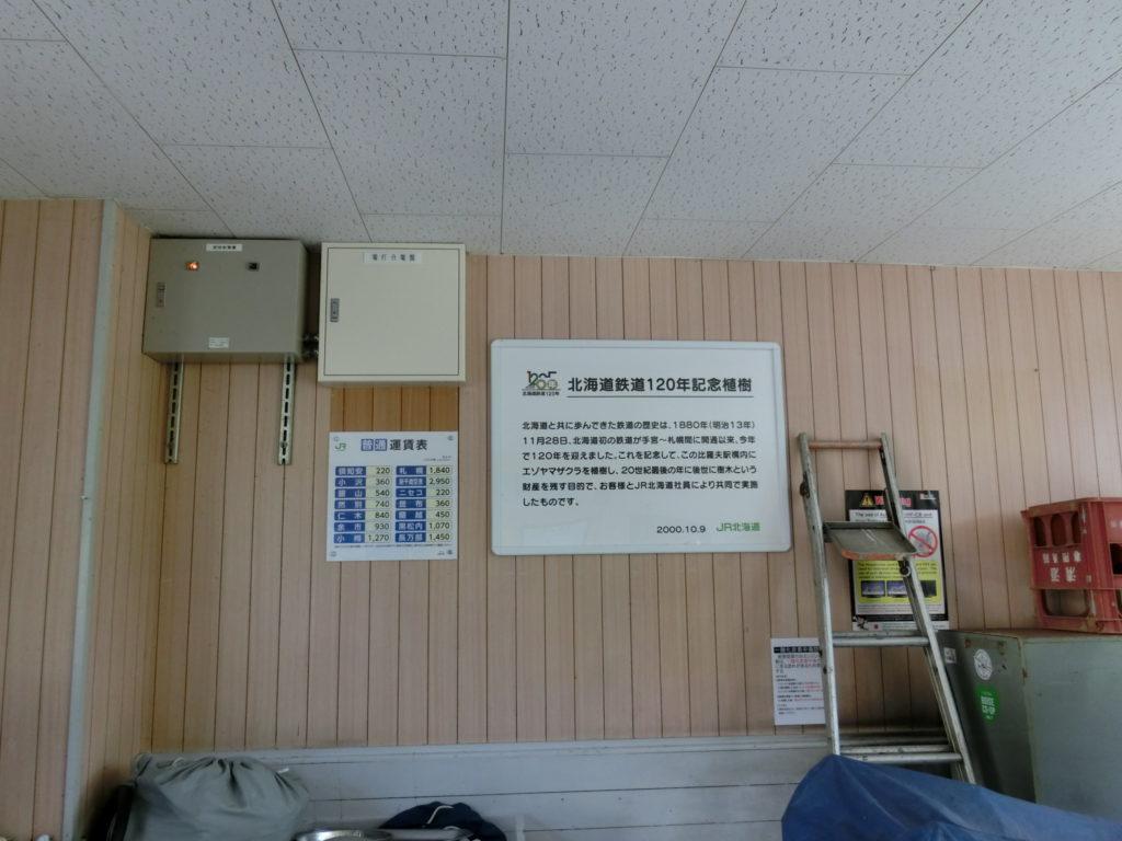 比羅夫駅駅舎内の待合室