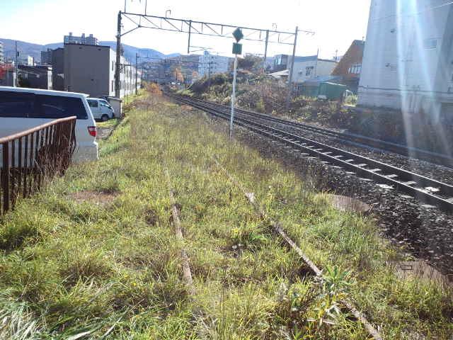 相生町踏切から旧手宮線の線路を眺める