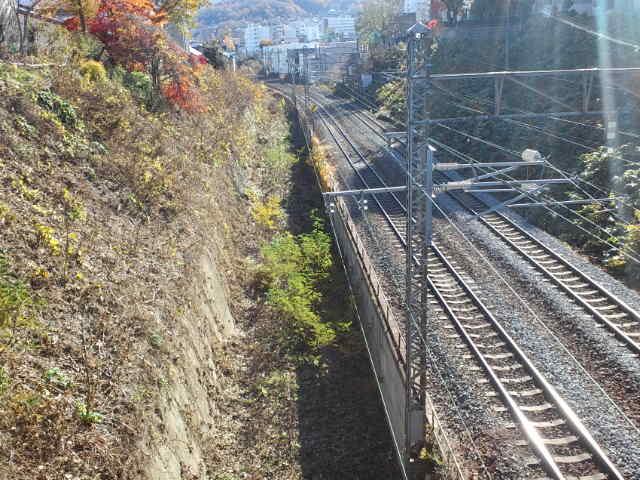 花園橋から旧手宮線の線路を眺める