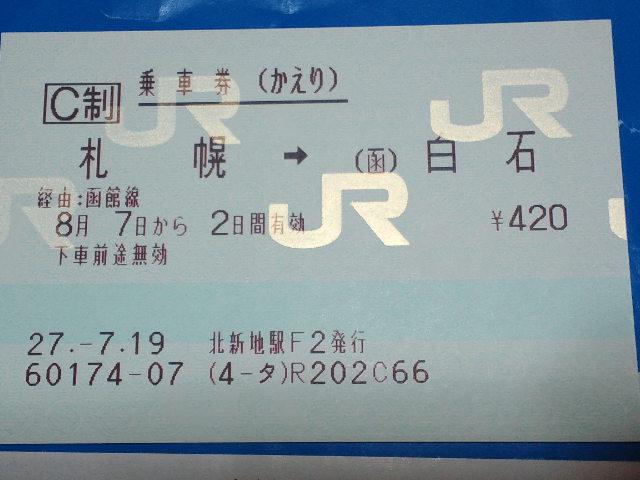 白石~札幌の往復乗車券(かえり券)