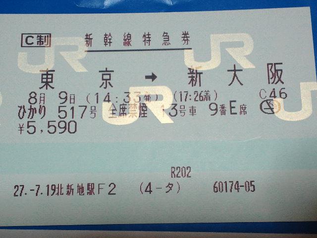 東京→新大阪の新幹線特急券(ひかり517号)