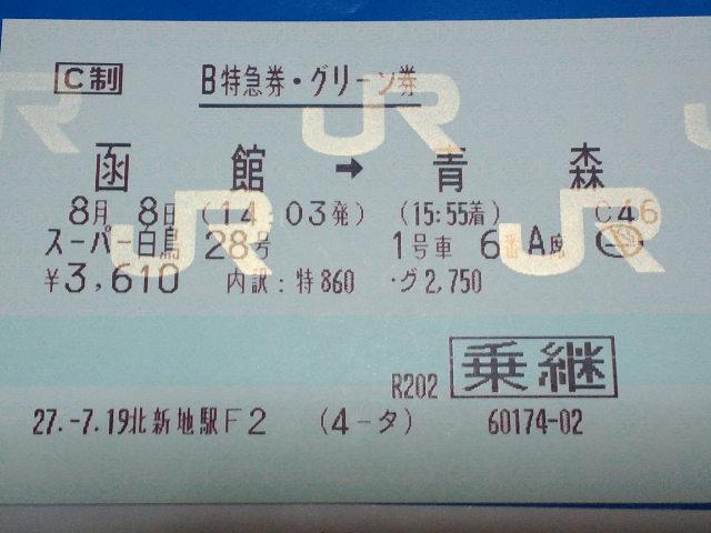 函館→青森の特急券・グリーン券(スーパー白鳥28号)