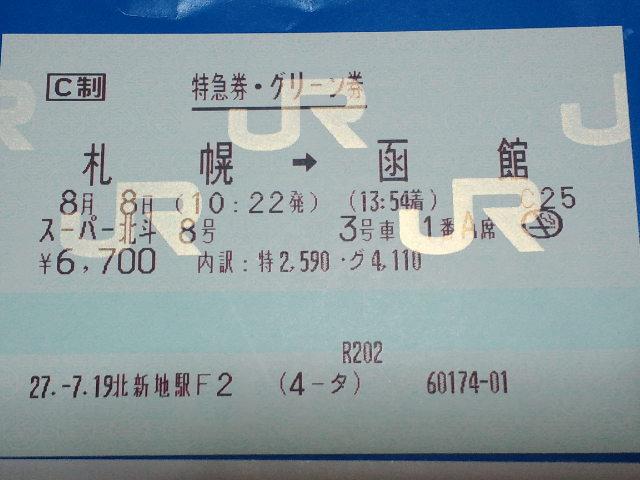 札幌→函館の特急券・グリーン券(スーパー北斗8号)