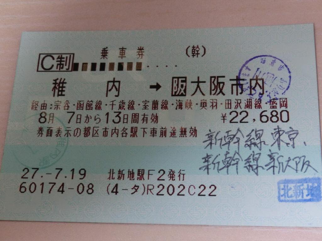稚内→大阪市内の乗車券